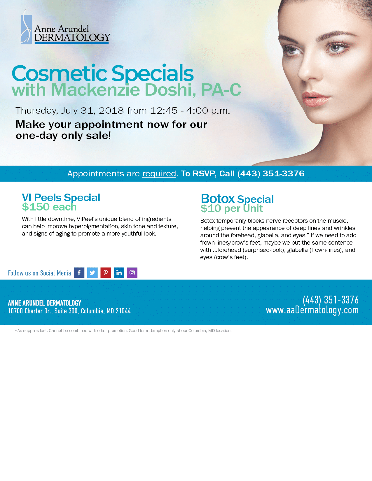 July 31 Special Pricing in Columbia, MD