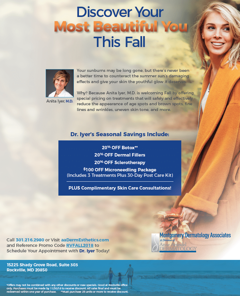 Fall cosmetic special offers at Montgomery Dermatology